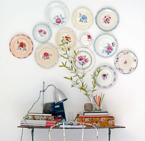 eclectic wall display with plates
