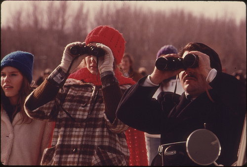 Burrough Audubon Society Members Use Binoculars to Identify Migratory Shore Birds...02/1975