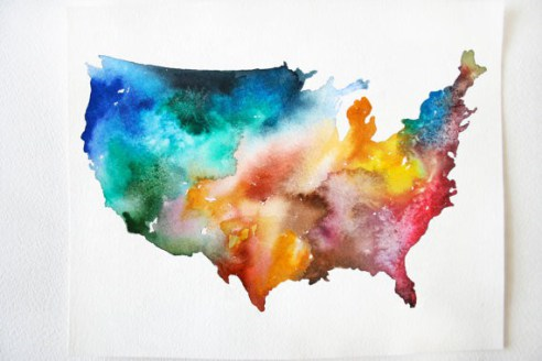 America Map Print by Audrey DeFord//Etsy